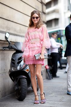 Olivia Palermo looked pretty in pink, wearing a frothy Valentino confection for the designer's Haute Couture show in July 2012.