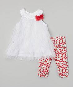 Love this White Lace Dress & Red Cherry Leggings - Infant by Nannette Baby on #zulily! #zulilyfinds
