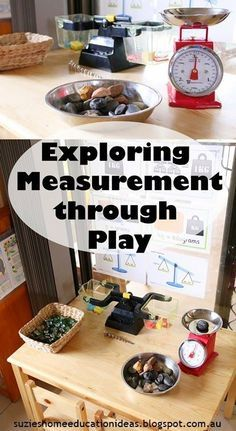 Exploring Measurement through play - Mass. Ideas on setting up the environment, what resources to use and how vocabulary development helps build understanding. Measurement Kindergarten, Measurement Activities, Math Measurement, Kindergarten Math, Teaching Math, Math Activities, Fun Math, Learning Resources, Math Games