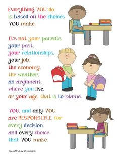 Classroom Freebies: Responsibility Poster - Link to lots of great classroom posters Classroom Freebies, Classroom Behavior, Classroom Posters, School Classroom, Classroom Ideas, Behavior Management, Classroom Management, Responsive Classroom, Leader In Me