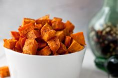 Coconut oil roasted sweet potatoes - made these tonight with dinner. The kids loved them - unbelievably subtle flavor that is very addictive. Sweet Potato Recipes, Veggie Recipes, Paleo Recipes, Coconut Recipes, Veggie Food, Delicious Recipes, Roasted Carrots, Roasted Sweet Potatoes, Hasselback Potatoes