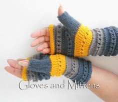 Gloves – Gray and Yellow Fingerless Gloves, Hand Warmers – a unique product by GlovesAndMittens on DaWanda