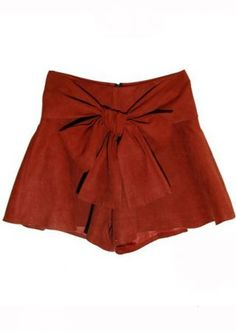 Red Bow Embellished Skirt Short