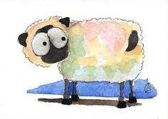 ACEO Original watercolor art painting Lucia Stewart farm animal whimsical sheep #IllustrationArt