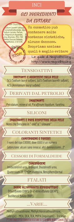 #INCI ingredienti dannosi nei cosmetici http://www.negozibio.org/inci-ingredienti-da-evitare/