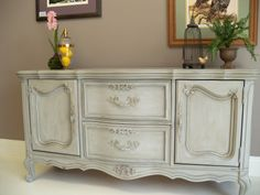 French Provincial Buffet painted with Annie Sloan Chalk Paint in Paris Grey with a French Linen wash.