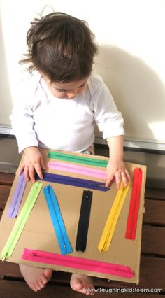 DIY zipper board for kids - Laughing Kids Learn : Using the DIY sensory board for babies and toddlers Here is a handmade DIY zipper board for kids, which is great for developing fine motor skills, independence and sensory awareness. Suitable for ages 1 to Montessori Activities, Motor Activities, Infant Activities, Activities For Kids, Crafts For Kids, Maria Montessori, Montessori Baby, Montessori Bedroom, Preschool Toys
