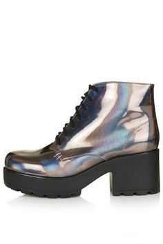 "Pewter holographic lace-up boots with mid heel. Approximate heel height 2.5""."
