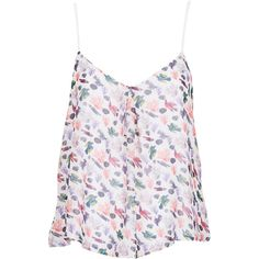 TOPSHOP Bird Print Cami Top (2,695 INR) ❤ liked on Polyvore featuring tops, shirts, tank tops, tanks, multi, bird print shirt, cami tops, white top, strappy tank and white tank