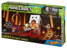 Hot Wheels Minecraft Ghast Attack Track Set by Hot Wheels Minecraft Hot Wheels, Minecraft Toys, Hama Beads Minecraft, Minecraft Stuff, Minecraft Skins, Minecraft Buildings, Perler Beads, Minecraft Bedroom Decor, Lego Bedroom