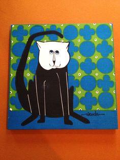 Mid Century Modern Scuda Wall Art Linen Bob Van Allen Cat Wall Hanging | eBay