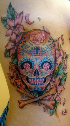 Sugar Skull Tattoo done by Sean Ambrose at Arrows and Embers Custom Tattooing Love sugar skulls so much. Cute Tattoos, Beautiful Tattoos, Tatoos, Sugar Skull Artwork, Sugar Skull Tattoos, Sugar Skulls, Real Tattoo, Tattoo Art, Birthday Tattoo