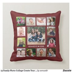 13 Family Photo Collage Create Your Own Burgundy Throw Pillow