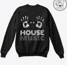 Techno House Music, Hands In The Air, Shirt Designs, Night, Sweatshirts, Shopping, Trainers, Sweatshirt, Sweater