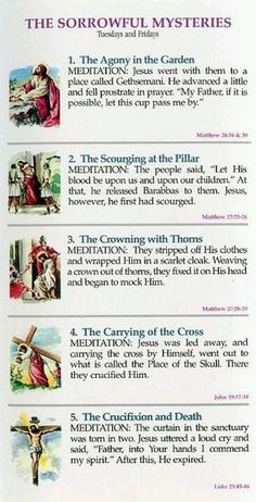 Roman Catholic - The Mysteries of the Rosary are meditations on episodes in the life and death of Jesus from the Annunciation to the Ascension and beyond. Each of these Mysteries contemplates five different stages of Christ's life. - The Sorrowful Mysteries
