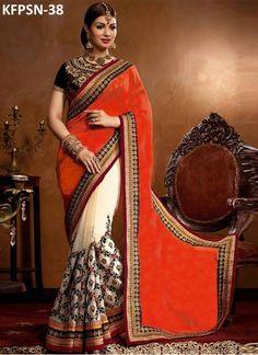Ayesha Takia Georgette Orange & Off White Heavy Replica Saree