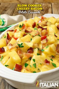 Slow Cooker Cheesy Bacon Potato Casserole is your favorite cheesy potato bake kicked up about 12 notches and slow cooked. With an incredible cheese sauce that comes together with 3 cheeses and bacon it will blow your mind.