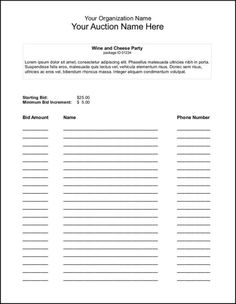The awesome 005 Template Ideas Free Bid Sheet Imposing Silent Auction Regarding Auction Bid Cards Template photo below, is other … Silent Auction Bid Sheets, Silent Auction Donations, Silent Auction Baskets, Sign Up Sheets, Donation Form, Wine And Cheese Party, Birthday Card Template, School Auction, Gift Certificate Template