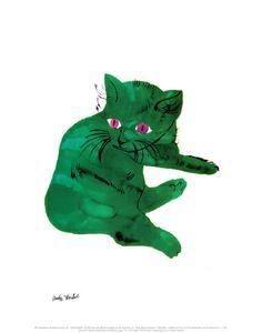 Green Cat, c.1956 Print by Andy Warhol at Art.com