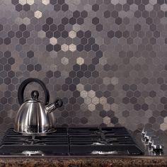 Aspect matted peel-and-stick backsplash. Hexagon style, stainless finish.
