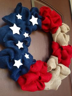 of July Wreath-Red White and Blue Wreath- Independence Day Wreath- Memorial Day Wreath -American Flag Wreath-Veterans Day Wreath - The Best of Diy Ideas Wreath Crafts, Diy Wreath, Burlap Wreaths, Wreath Ideas, Burlap Flag, Chevron Burlap, White Wreath, Burlap Ribbon, Mesh Wreaths