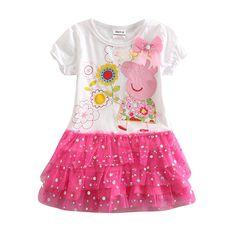 Chica encaje cerdo niños del vestido del vestido de la princesa del verano del estilo 100% vestidos de noche del partido ropa de algodón niños cerdo para niñas