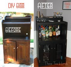 DIY Bar...someday when I get a real hutch for the dining room, I'll make the ugly microwave stand I have now into this and put it in the basement with the pool table :)