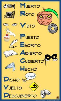 FREE MR V. Peach DVD Poster - Teach the Spanish Irregular Participles with this fun mnemonic. Spanish Basics, Ap Spanish, Spanish Grammar, Spanish Vocabulary, Spanish Language Learning, Spanish Teacher, Spanish Classroom, How To Speak Spanish, Learn Spanish