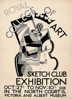Royal College of Art Sketch Club 1928 - original vintage exhibition poster by A E Halliwell listed on AntikBar.co.uk