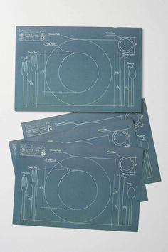 Desired: Cake Vintage Rules of Etiquette Blueprint Paper Placemats