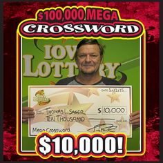 "Thomas Sager of Des Moines bought a ""100,000 Mega Crossword"" scratch ticket at his local Hy-Vee at 3221 SE 14th St. He scratched it off and ended up winning the 23rd of 25 prizes of $10,000 available in the game! #WooHoo‬ Congrats, Thomas!"
