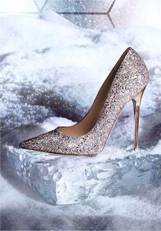 All that Glitters - The Jimmy Choo ANOUK pump in a coarse glitter finish #weddingshoes #GlitterSparkle