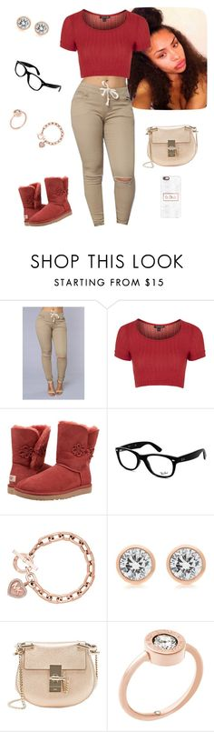 """""""Ig"""" by aaliyah-am ❤ liked on Polyvore featuring Topshop, UGG Australia, Ray-Ban, Michael Kors, Chloé and Casetify"""