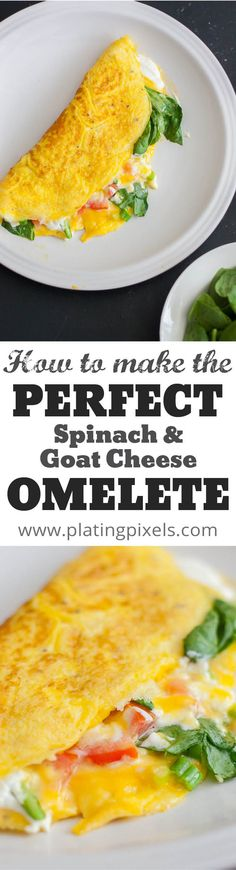 Learn how to make the perfect Spinach and Goat Cheese Omelet by Plating Pixels. Rich flavors pair nicely to create the perfect fluffy, hearty, healthy breakfast omelets. - www.platingpixels.com