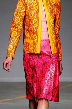Pink/orange ensemble by Christopher Kane, SS 2011. Promotional runway image. #QueerFashion