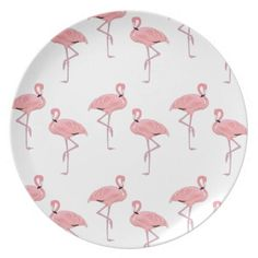 pink flamingo pattern dinner plate