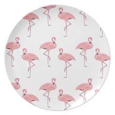 pink flamingo pattern dinner plate