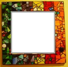 "Small 10"" x 10"" Customizable Mosaic Mirrors, Chalk Board, Bulletin Board, Mixed Media Stained Glass OOAK Made to Order. $75.00, via Etsy."