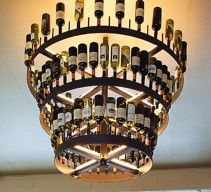 recycled wine bottles chandelier