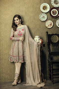 Shop beige georgette party wear anarkali suit , freeshipping all over the world , Item code Pakistani Party Wear Dresses, Shadi Dresses, Pakistani Wedding Outfits, Pakistani Dress Design, Indian Dresses, Indian Outfits, Salwar Suits Pakistani, Stylish Dresses, Fashion Dresses