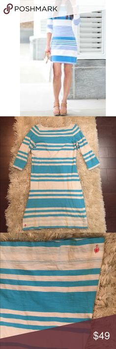 Lilly Pulitzer stripe t shirt dress Thin 100% cotton 3/4 sleeve nautical bright blue stripe t shirt feel dress. Great to throw on over a swimsuit or wear casually. Perfect for vacation. Packs and travels well Lilly Pulitzer Dresses
