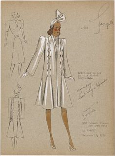 Coat with scallop detail extending from hips over shoulders. 1930s Fashion, Fashion Art, Retro Fashion, Vintage Fashion, Fashion Sketchbook, Fashion Sketches, Fashion Illustration Vintage, Fashion Illustrations, Fashion Model Drawing