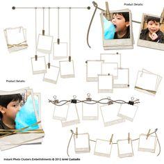 Instant Photo Clusters Digital Scrapbooking Embellishments
