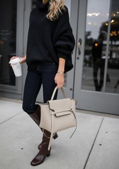 dark denim and oversized sweater #fall #fallstyle #styleblogger
