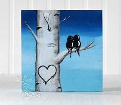 Aspen Tree with Love Birds on Wood Gift for Valentine