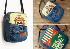 Reuse the pockets of an old pair of jeans as handy pockets on a bag. Tutorial: Recycled jeans messenger bag with Zipper.