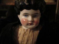 Antique German China Head Doll Low Brow with by ParisPaintingsEtc