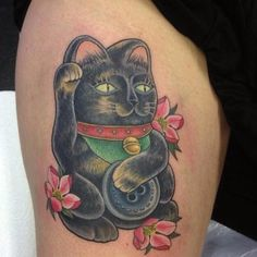 My beautiful lucky cat tattoo, in memory of Binka Button.