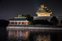 The Forbidden City And River At Night