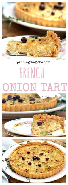 A mustard-coated tart shell filled with sweet braised onions and eggs, and topped with thyme and olives.  Perfect for brunch • Panning The Globe